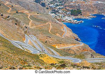 pueblo, Curvy, Chora, sfakion, grecia, nuevo, Crete, camino...