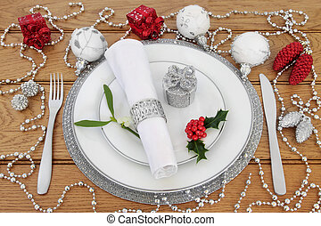 Christmas Place Setting with Decorations - Christmas dinner...