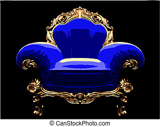 isolated classic golden chair