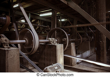 old machine working by water steam engine in agricultural...