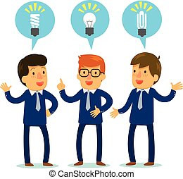 brainstorming - three businessmen bringing up different...