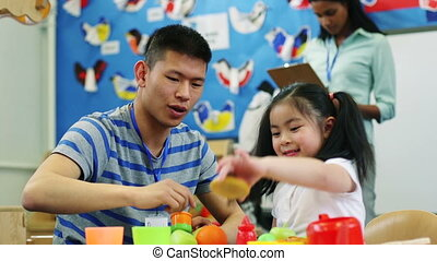 Father and Daughter time at Nursery - Nursery teacher...