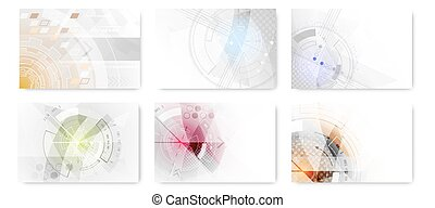 Set of abstract technological futuristic background - Set of...