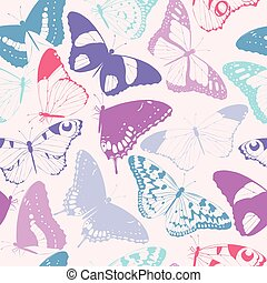 Seamless butterfly silhouettes - Varicolored detailed...