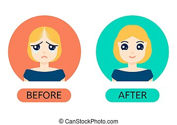Balding woman before anf after treatment - Woman with hair...