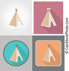 wigwam wild west flat icons vector illustration isolated on...
