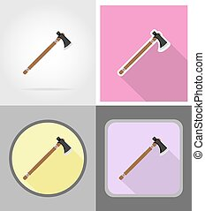 tomahawk wild west flat icons vector illustration isolated...