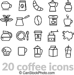 collection of coffee line icons