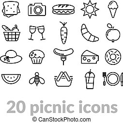 collection of picnic line icons