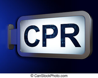 Health concept: CPR on billboard background - Health...