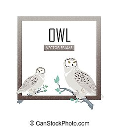 Snowy Owls Flat Design Vector Illustration - Snowy owls...