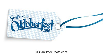 hangtag with text greetings from Oktoberfest 2016 - hangtag...