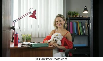 5-Portrait Business Woman Working With Pet Dog In Office -...
