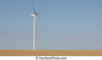 Wind turbine on wheat field