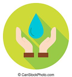 Hands Save the Planet Water Circle Icon Flat Design Vector...