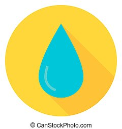 Water Drop Circle Icon Flat Design Vector Illustration with...