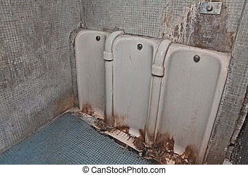 old dirty public restroom - public restroom with dirty and...