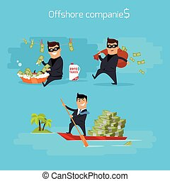 Set of Offshore Companies Concepts Illustration - Offshore...
