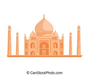 Tadj Mahal Illustration in Flat Design - Travelling India...