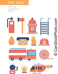 Fire Help Conceptual Vector Icons Set.