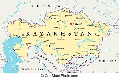 Kazakhstan Political Map - Kazakhstan political map with...