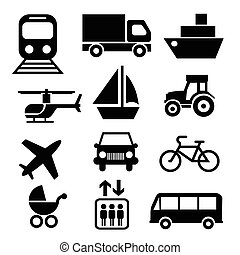Transportation icons - Vector illustration of simple...