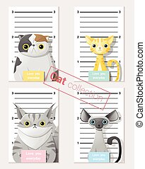 Mugshot of cute cats holding a banner 2 - Mugshot of cute...