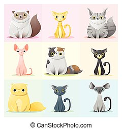 Set of cat family 2 - Set of cat family , vector ,...