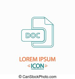 DOC computer symbol - DOC Flat thin line icon on white...