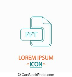 PPT computer symbol - PPT Flat thin line icon on white...