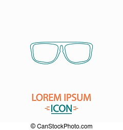 Glasses computer symbol - Glasses Flat thin line icon on...