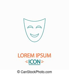 comedy mask computer symbol - comedy mask Flat thin line...