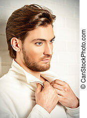 well-groomed man - Beauty portrait of a handsome pensive...