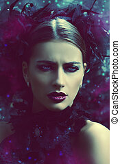 dark portrait - Close-up portrait of a beautiful gothic...