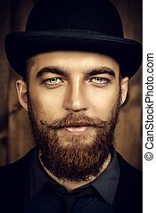 red beard man - Elegant man with beard and mustache wearing...