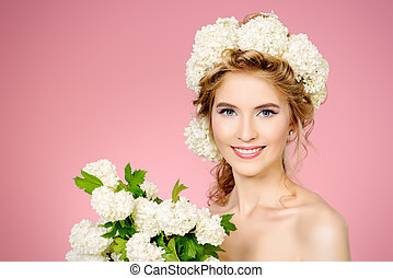 anti aging skin - Beautiful young woman with natural make-up...