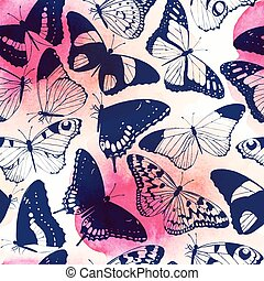 Seamless butterfly silhouettes - Monochrome detailed...