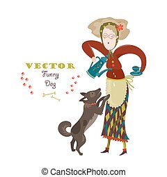 Cheerful elderly woman with funny dog Vector illustration