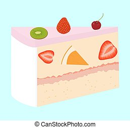 fruit cake with cherry and strawberry