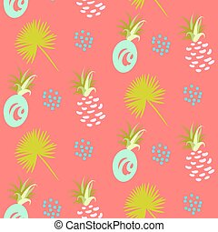 Pineapple abstract exotic coral vector seamless background...