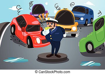 Back to School Poster Policeman Direct Traffic - A vector...