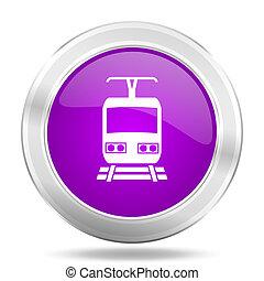 train round glossy pink silver metallic icon, modern design...