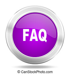faq round glossy pink silver metallic icon, modern design...