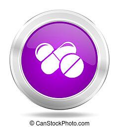 medicine round glossy pink silver metallic icon, modern...