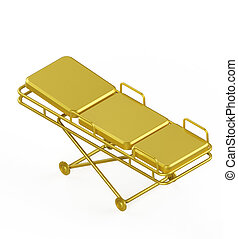 Glossy metal hospital stretcher on wheels isolated white...