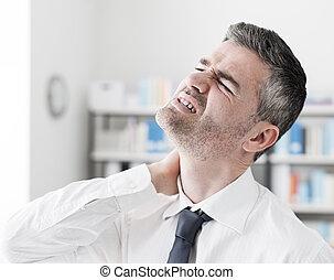 Neck pain symptoms - Sad businessman having neck pain...