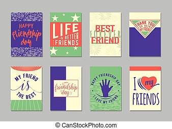 Vector illustration of Friendship day typography background...