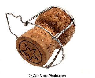 champagne cork isolated with white background