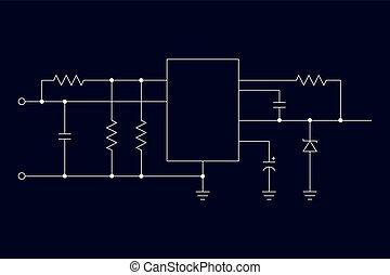 Schematic diagram on a dark background. Mikokontroller....