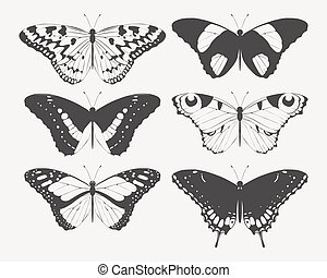 Set of butterfly silhouettes - Vector set of high detailed...